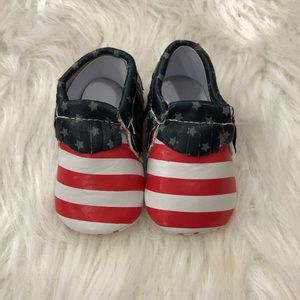 Patriotic 4th of July Baby Moccasins Size 1
